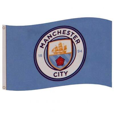 Manchester City Fc Man Suporters Flag 5ft x 3ft 5x3' With Club Crest