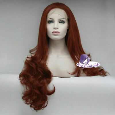 """24"""" Long Orange Red Halloween Party Heat Resistant Lace Front Wig+Wig Cap"""