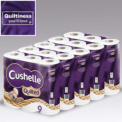 Cushelle Ultra Quilted 3-Ply Toilet Paper Tissue Roll - 90 Rolls - New UK Stock