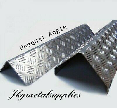 UNEQUAL SIDED 90 DEGREE ANGLE / Corner Protector - ALUMINIUM checker plate 5 bar