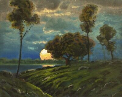 Oil Painting Landscape Art Signed Antique Vintage Impressionist Moon MAX COLE