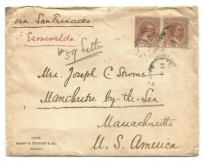PHILIPPINES Alphonso XIII 8c pair on cover to USA, 1895