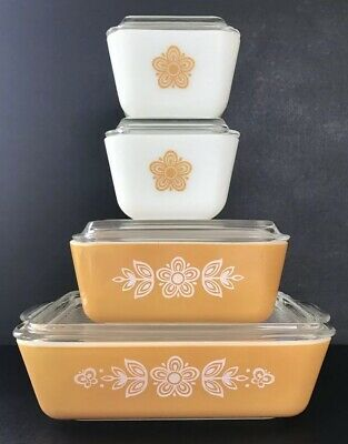 Vintage Pyrex Butterfly Gold Refrigerator Dish Set With Lids 501 502 503