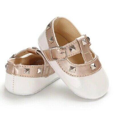 New baby girls fashion stud flats 7-12 Months - White Colour