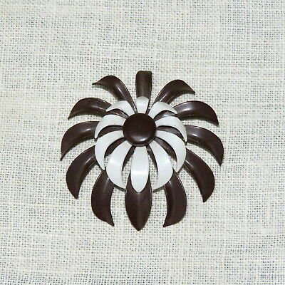 Coro brown & white metal chrysanthemum pin brooch, vintage 1950s retro jewelry