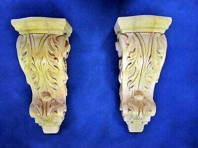 "Pair of 12.5"" X 5.125"" Geniune carved wood Corbel or Sconce shelves"