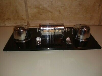 Art Deco Ranleigh Glass/Chrome Bullet Dbl Inkwell/Calendar/Fountain Pen Holder