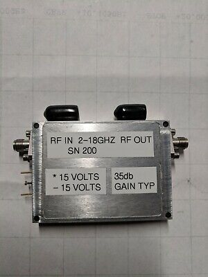 2 TO 18 GHZ AMPLIFIER 35DB GAIN TYP +10 TO 17DBM +190ma