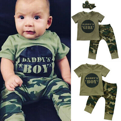 US Stock Camo Newborn Baby Boy Girl Camouflage T-shirt Tops Pants Outfit Clothes