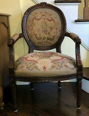 Vintage Carved Walnut French Louis XVI Chair