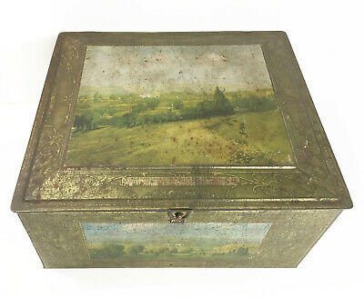 Antique Scenic Biscuit Tin Box Beech-Nut Mohawk Valley NY c1900 Modern Farmhouse