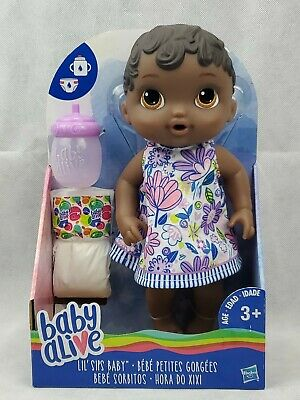 Baby Alive Lil' Sips Baby - African American black Sculpted Hair