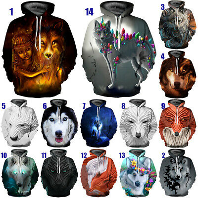 Unisex Women Men 3D Printed Cool Galaxy Animal Wolf Hoodies Pullover  Sweatshirt