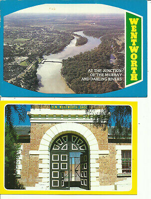 Two Australia Postards - Wentworth, NSW - Goal & Junction of Murray & Darling