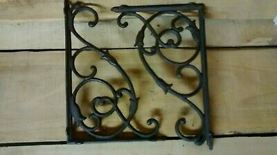 6 cast iron LARGE VINE Brackets for Garden or Home Heay duty Brown in Color.