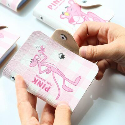 Cartoon Pink Panther Card ID Holders Travel Small Bank Bus Credit Holder Chain