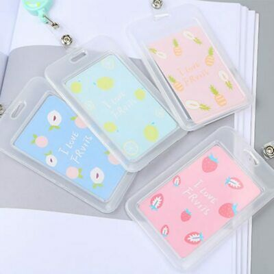 Cartoon Transparent Fruit Credit ID Card Holder Cover Women Girl Travel Bank