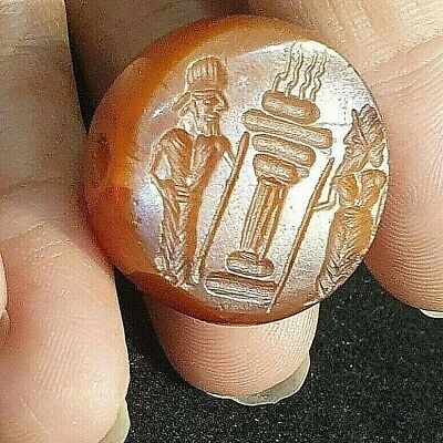 Ancient carnelian Torch Keeper Sanctuary Seal Intaglio Signet Engraved Bead 25mm