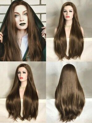 """AU 24"""" Lace Front Wig Natural Straight Synthetic Hair Handtied Brown Party"""