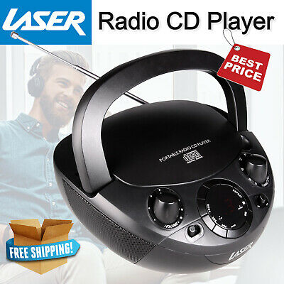 Laser Portable CD Player/Boombox w/ AM/FM Radio/MP3/Aux Input with Carry Handle