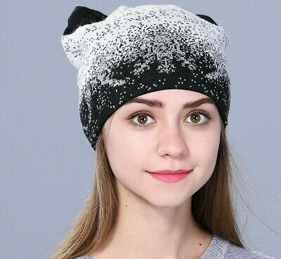 Cute Kitty Winter Hat for Women Rabbit Fur Wool Knitted Fashionable Beanies Cats