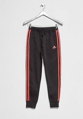 Adidas Girls Cotton Jogging Bottoms Black Red 3S Juniors UK Size 9-10 Years