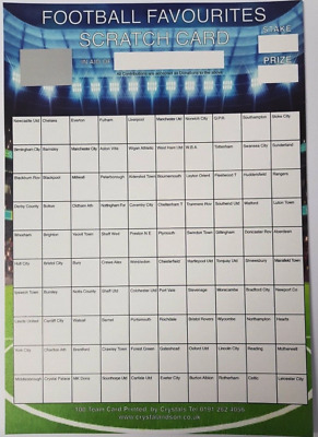 X1 A4 Football Scratch Card With 100 Teams - Great For Fundraising, Charity