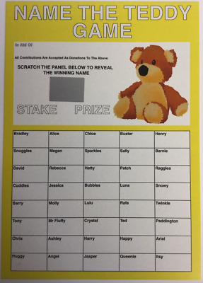X1 Name The Teddy Bear Scratch Card With 40 Names - Fundraising Event Charity