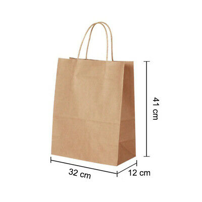 Brown Paper Party Gift Bags Take Away Twisted Handles - 32 x 41 x 12 cm Size