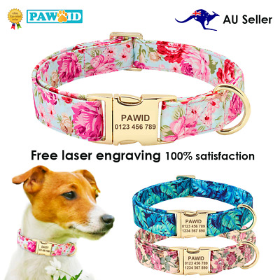 Personalised Floral Dog Collar Custom Pet ID Collar Flower Print Nylon Large