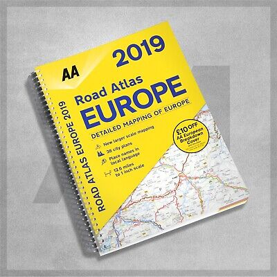 AA Road Atlas Europe 2019  Road Map Planner Larger Scale Mapping