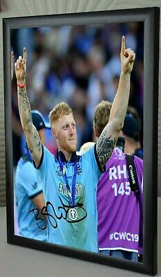 """Ben Stokes Man of the Match Framed Canvas Tribute Print Signed.""""Great Gift"""""""