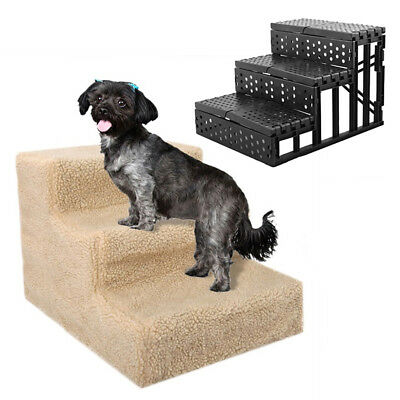 Gn_ Eg_ Lx_ 3 Steps Puppy Ladder Doggy Pet Soft Stairs Ramp Washable Cover Folda