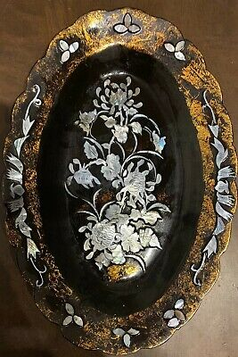 Japanese Laquerware(?)Decorated With Mother Of Pearl Shell (Flowers)Wall Hanging