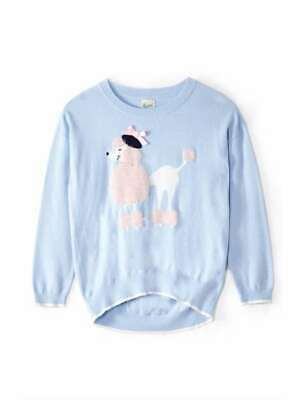 Yumi Girls Poodle Intarsia Jumper UK 5-6 Blue Cotton Pullover *REF13
