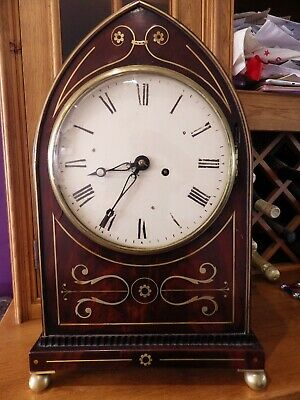 English fusee Lancet Shape Mantle Clock In Flame Mahogany Needs Some TLC .