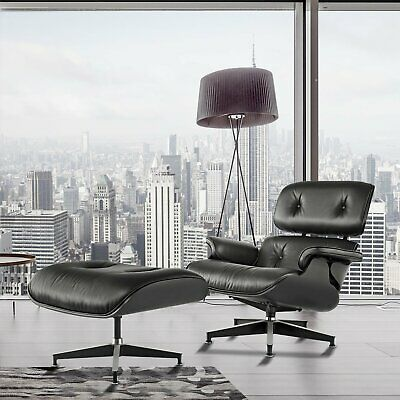 For Eames Lounge Chair &Ottoman Reproduction Style Black Ashwood Italian Leather