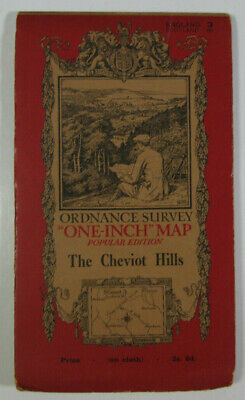 1925 Old Vintage OS Ordnance Survey One-Inch Popular Edition Map 3 Cheviot Hills