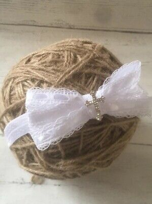 Baby Girl Pure White Christening Headband Baptism Wedding Bow Cross Hairband