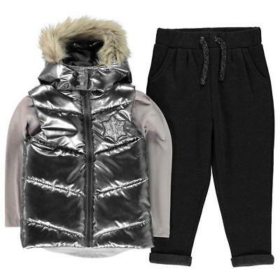 Character Frozen Gilet Set Girls LS Tshirt Joggers Silver Grey UK Size 5-6 Years