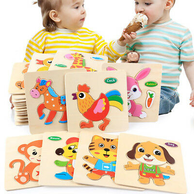 Wooden Puzzle Educational Developmental Training Animals Jigsaw Toy Baby Kids❤