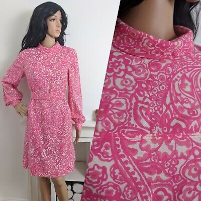 Vintage 60s Wool Pink Painted Psychedelic Floral Shift Sheath Mod Dress 10 12 38