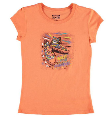 Converse Short Sleeve T Shirt Tee Top Junior Girls Orange Size 12-13 Yrs *REF78