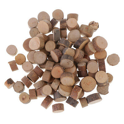 100pcs Natural Wood Cut Out Crafts Slice Wooden Logs Wedding Ornament 7-10mm