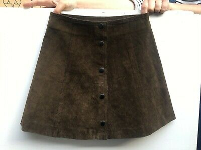 Brown Suede Vintage Mini Skirt 60s retro