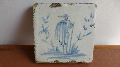 Antique Large Dutch Delft tile 18th C. .Ancien grand carreau Delft............B