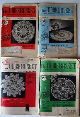Vintage 53-59  WORKBASKET MAGAZINE Crochet Knitting Recipe Sew Quilt 4 issues