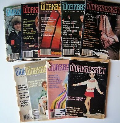 Vintage 80-81  WORKBASKET MAGAZINE Crochet Knitting Recipe Sew Quilt 9 issues