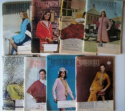 Vintage 70-72 WORKBASKET MAGAZINE Crochet Knitting Recipe Sew Quilt 8 issues