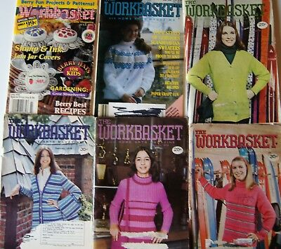 Vintage 73-95  WORKBASKET MAGAZINE Crochet Knitting Recipe Sew Quilt 6 issues